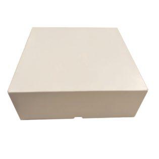 Caja cartón blanca cuadrada con tapa bisagra orleans