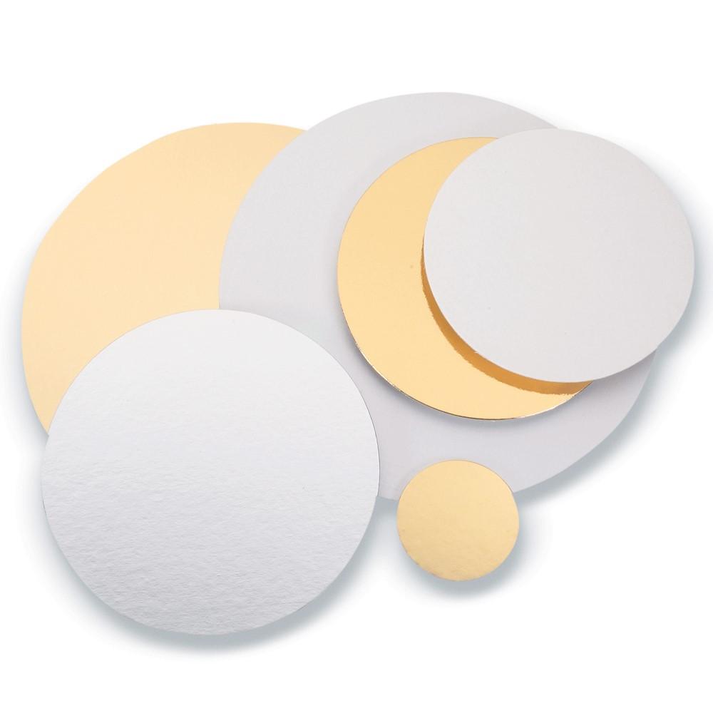 Disco de cartón oro plata para pastelería y loncheados